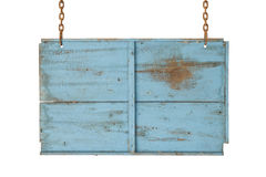 Signe en bois bleu Images stock