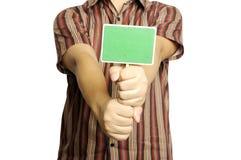 Signe en bois de blanc d'exposition d'homme Photo libre de droits