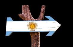 Signe en bois de l'Argentine d'isolement sur le fond noir photographie stock libre de droits