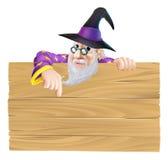 Signe en bois de magicien de bande dessinée Image libre de droits