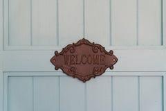 Signe en bois de vintage de Brown avec le mot Image stock