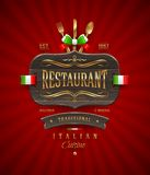 Signe en bois de vintage de restaurant italien Photos libres de droits