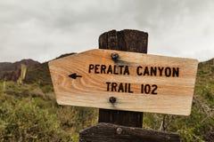 Signe en bois du canyon de Peralta, Etats-Unis Images libres de droits
