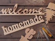 Signe en bois fait main Image stock
