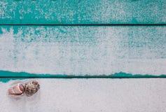Signe en bois vide avec le sable et les coquillages Images stock
