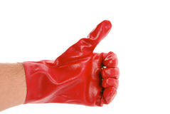 Signe EN BON ÉTAT avec des gants Photos stock