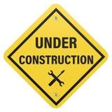 Signe en construction Photographie stock