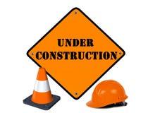 Signe en construction Photographie stock libre de droits