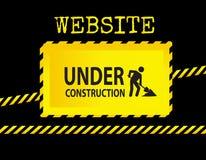 Signe en construction de site Web Images libres de droits