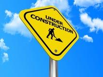 Signe en construction jaune illustration libre de droits