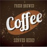 Signe en métal de cru - café préparé frais - vecteur illustration de vecteur