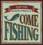 Signe en métal de pêche de vintage Images libres de droits