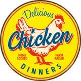 Signe en métal de vintage - dîners délicieux de poulet illustration stock