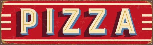 Signe en métal de vintage - pizza illustration stock