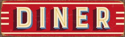 Signe en métal de vintage - wagon-restaurant illustration libre de droits