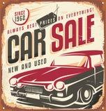 Signe en métal de vintage de vente de voiture Image libre de droits