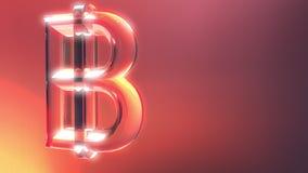 Signe en verre de bitcoin sur le fond rouge et orange rendu 3d Photos libres de droits