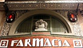 Signe espagnol de pharmacie de cru Photographie stock