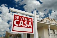 Signe espagnol et Chambre d'immeubles de maison d'expert en logiciel Vende Images libres de droits