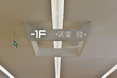 Signe et direction de toilette illuminés par mené Photo stock