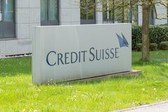 Signe et logo de Credit Suisse photo libre de droits