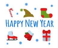 Signe et logo réglés de bonne année sur le fond bleu Illu de vecteur Image stock