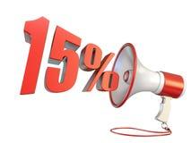 signe et mégaphone 3D de 15 pour cent illustration de vecteur