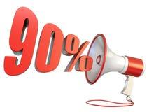 signe et mégaphone 3D de 90 pour cent illustration libre de droits