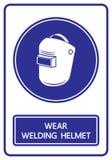 Signe et symbole de casques de soudure d'usage illustration libre de droits