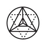 Signe et symbole de vecteur d'icône de cube en Metatron d'isolement sur le dos blanc illustration libre de droits
