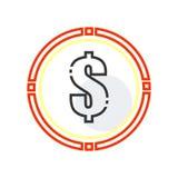 Signe et symbole de vecteur d'icône de symbole du dollar d'isolement sur le fond blanc, concept de logo de symbole du dollar illustration libre de droits