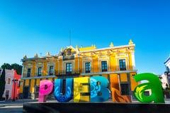Signe et théâtre de Puebla photo libre de droits