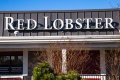 Signe extérieur de restaurant rouge de fruits de mer de homard Photographie stock libre de droits