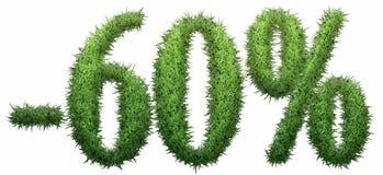 -60% signe, fait en herbe Photo libre de droits