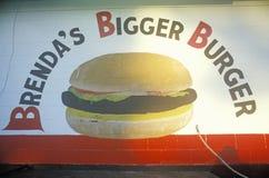 Signe fait maison au stand d'hamburger, Fayetteville, AR Images stock