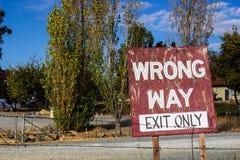 Signe faux de voie Image libre de droits