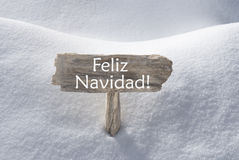 Signe Feliz Navidad Mean Merry Christmas de neige Photos libres de droits