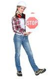 Signe femelle d'arrêt de fixation d'apprenti Photo libre de droits