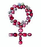 Signe femelle de genre des bijoux colorés. Images libres de droits