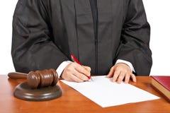 Signe femelle de juge de masquer la décision judiciaire Image libre de droits