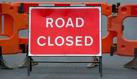 Signe fermé de route Photo libre de droits