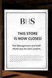 Signe fermé de magasin de BHS Image libre de droits
