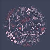 Signe floral d'amour de nature avec les éléments tirés par la main Photos libres de droits