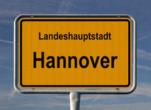 Signe général d'entrée de ville de Hanovre Photographie stock libre de droits