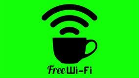 Signe gratuit de tasse de café de wifi de café d'Internet illustration libre de droits