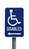 Signe handicapé d'isolement Photographie stock