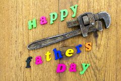 Signe heureux de jour de pères de clé Photographie stock