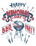 Signe heureux de partie de barbecue de Memorial Day Images stock