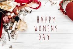 Signe heureux des textes de jour du ` s de femmes configuration plate réglée de mode avec l'espace pour Images libres de droits