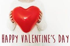 Signe heureux des textes de jour du ` s de valentine concept heureux de valentines H rouge Images libres de droits